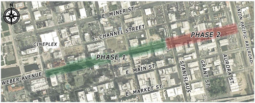 Weber Avenue Streetscape - Map of Phase 1 and 2