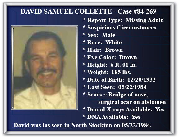 Missing Person Flyer of David Samuel Collette