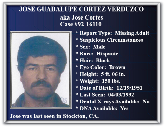 Missing Persons Flyer of Jose Guadalupe Cortez Verduzco