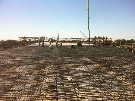 Deck pours for hte French Camp Slough Bridge